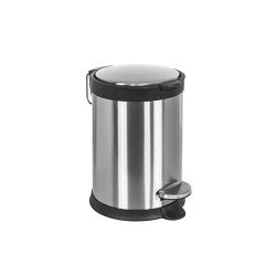 Rounded small pedal bin, stainless steel, with amortized closure (L 3) | Papeleras | COLOMBO DESIGN