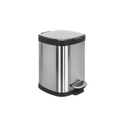 Rounded small pedal bin, stainless steel, with amortized closure (L 5) | Papeleras | COLOMBO DESIGN