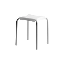 SIT Seat. Seat: white ABS. Frame: grey epoxy powder coated aluminium | Taburetes | COLOMBO DESIGN