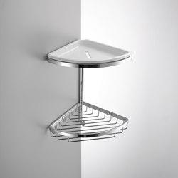 Double corner basket with ceramic bowl and hook | Sponge baskets | COLOMBO DESIGN