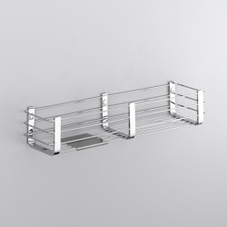 Basket for shower and bath with stainless steel shelf. Available finishes: chrome, white, black | Sponge baskets | COLOMBO DESIGN