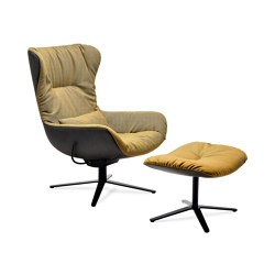 Leya | Wingback Chair with x-base frame with rocker / tilting mechanism & Ottoman | Poltrone | FREIFRAU MANUFAKTUR