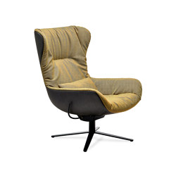Leya | Wingback Chair with x-base frame with rocker / tilting mechanism & Ottoman | Sillones | Freifrau Sitzmöbelmanufaktur