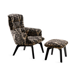 Marla | Easy Chair High with wooden frame and Ottoman | Fauteuils | FREIFRAU MANUFAKTUR