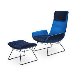 Amelie | Lounge Chair with wire frame and Ottoman blue | Armchairs | Freifrau Sitzmöbelmanufaktur