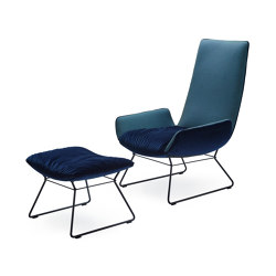 Amelie | Lounge Chair with wire frame and Ottoman | Armchairs | Freifrau Sitzmöbelmanufaktur