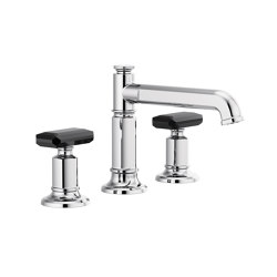 Widespread with Column Spout and Black Crystal Knob Handles | Wash basin taps | Brizo