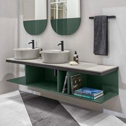 Multiplo washbasin on open day cabinet | Wash basins | Ceramica Cielo