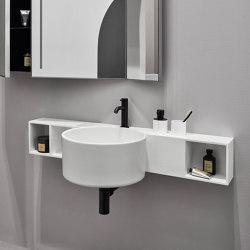 Sella wall-hung washbasin | wall-hung storage unit in LivingTec | Wash basins | Ceramica Cielo