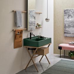 Siwa washbasin on structure | rectangular mirror | Wash basins | Ceramica Cielo