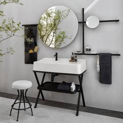 Siwa washbasin on structure | round mirror | Wash basins | Ceramica Cielo