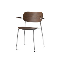 Co Chair w/ Armrest, Chrome / Dark Stained Oak | Chairs | MENU