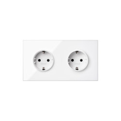 Simon 100 | Kit Double Socket White Schuko | Schuko sockets | Simon