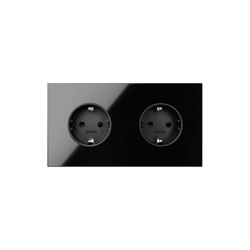 Simon 100 | Kit Double Socket Black Schuko | Schuko sockets | Simon
