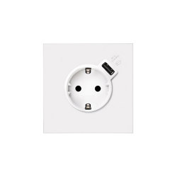 Simon 100 | Kit Socket + USB Integrated Charger | Schuko-Stecker | Simon