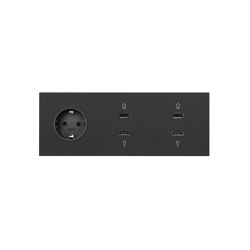 Simon 100 | Kit Socket Schuko + 2 HDMI + USB Connectors | Schuko sockets | Simon