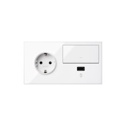 Simon 100 | Kit Switch + USB Charger + Socket Schuko | Push-button switches | Simon