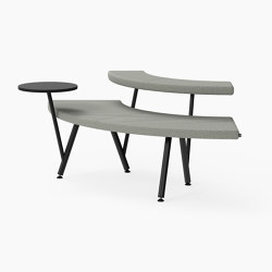 Autobahn, 90˚ Curved seat with floating table | Bancos | Derlot Editions