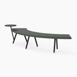 Autobahn, 90˚ Curved seat with floating table | Sitzbänke | Derlot Editions