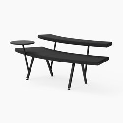 Autobahn, 45˚ Curved seat with floating table | Bancos | Derlot Editions