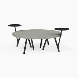Autobahn, Circular ottoman with two floating tables | Panche | Derlot Editions