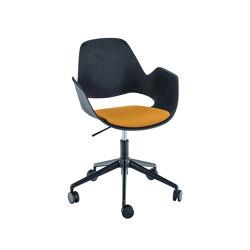 FALK | Dining armchair - Five star base w/ castors, Dark Yellow seat | Chairs | HOUE