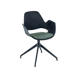 FALK | Dining armchair - Four star swivel base, Dark Green seat | Chairs | HOUE
