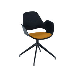 FALK | Dining armchair - Four star swivel base, Dark Yellow seat | Chairs | HOUE