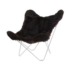 Iceland Mariposa Butterlfy Chair Shorn Black Chrome Frame | Armchairs | Cuero Design