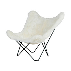 Iceland Mariposa Butterlfy Chair Shorn White Black Frame | Sessel | Cuero Design