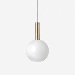 Socket Pendant High - Brass | Opal Shade - Sphere - White | Suspended lights | ferm LIVING