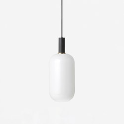 Socket Pendant Low - Black | Opal Shade - Tall - White | Suspended lights | ferm LIVING