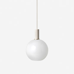 Socket Pendant Low - Light Grey | Opal Shade - Sphere - White | Suspended lights | ferm LIVING