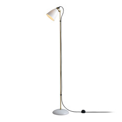 Hector 30 Floor Light, Satin Brass with Black Braided Cable | Free-standing lights | Original BTC