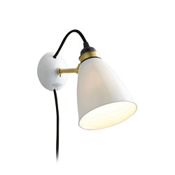 Hector 30 Wall Light, Plug, Switch & Cable, Satin Brass with Black Braided Cable | Wall lights | Original BTC