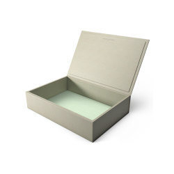Bookbox dusty grey and turquoise leather magnum | Storage boxes | August Sandgren A/S