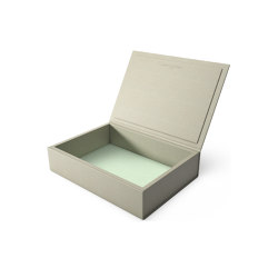 Bookbox dusty grey and turquoise leather large | Storage boxes | August Sandgren A/S