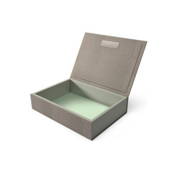 Bookbox wet sand and turquoise textile large | Storage boxes | August Sandgren A/S