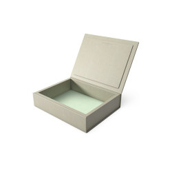 Bookbox dusty grey and turquoise leather medium | Storage boxes | August Sandgren A/S