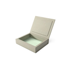 Bookbox dusty grey and turquoise leather small | Storage boxes | August Sandgren A/S