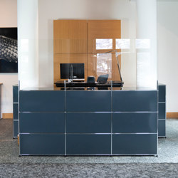 USM Haller Reception Station with Protection Screen | Anthracite | Table dividers | USM