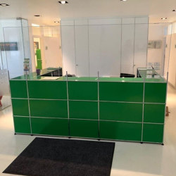 USM Haller Reception Station with Protection Screen | USM Green | Counters | USM