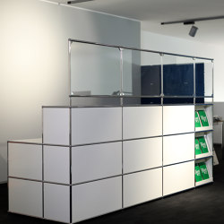 USM Haller Reception station with protection screen | pure white | Table dividers | USM