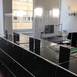 USM Haller Reception Station with Protection Screen | Graphite Black | Table dividers | USM