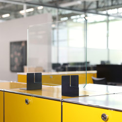 USM Haller Reception Station with Protection Screen   Golden yellow   Comptoirs   USM