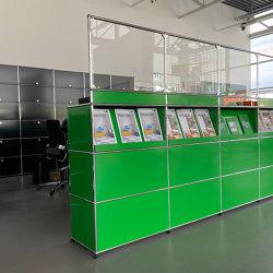 USM Haller Reception Station with Protection Screen | USM Green | Table dividers | USM
