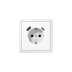 LS 990 | USB-A/C SCHUKO-Socket LS 990 white | Prese Schuko | JUNG