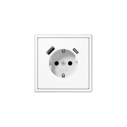 LS 990 | USB-A/C SCHUKO-Socket LS 990 white | Schuko sockets | JUNG
