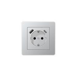 A flow | USB-A/C SCHUKO-Socket A flow Aluminium | Schuko sockets | JUNG