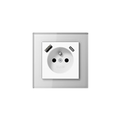 A Creation | USB-A/C Socket in french /belgian System in white with glass frame | Belgian sockets | JUNG